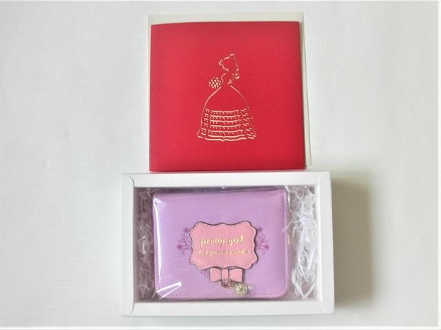 女の子二つ折り財布 メッセージカード